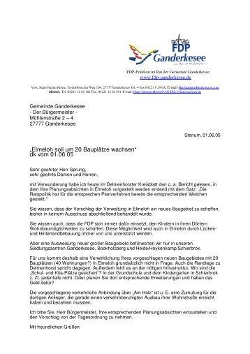 Baugebiet Elmehloh - FDP Ganderkesee