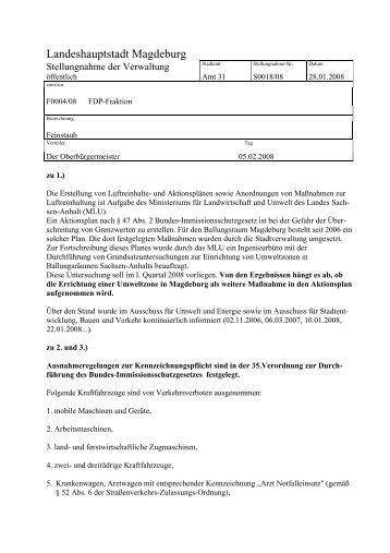 Stellungnahme Vorlage S012007 Fdp Kreisverband Magdeburg