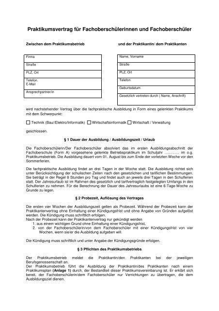 Praktikumsvertrag Friedrich Dessauer Schule