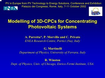 Modelling of 3D-CPCs for Concentrating