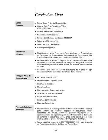 Modelo Europeu De Curriculum Vitae Nome Carlos