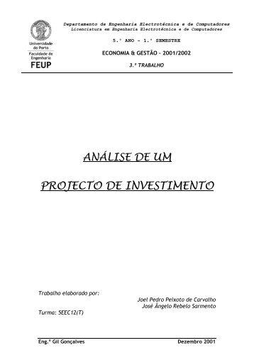 Análise de Projecto de Investimento
