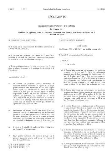 Règlement (UE) no 296/2011 du Conseil du 25 mars ... - EUR-Lex
