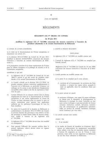 Règlement (UE) no 588/2011 du Conseil du 20 juin 2011 ... - EUR-Lex