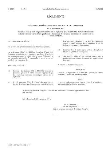 (UE) no 960/2011 de la Commission du 26 septembre ... - EUR-Lex