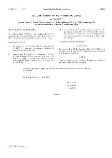 Règlement d'exécution (UE) no 360/2011 du Conseil du ... - EUR-Lex