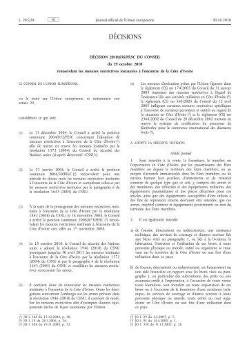 Décision 2010/656/PESC du Conseil du 29 octobre 2010 ... - EUR-Lex