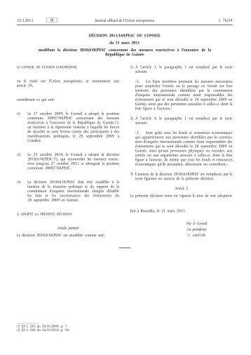 Décision 2011/169/PESC du Conseil du 21 mars 2011 ... - EUR-Lex
