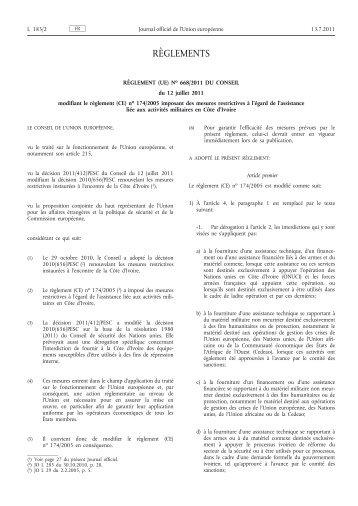 Règlement (UE) no 668/2011 du Conseil du 12 juillet ... - EUR-Lex