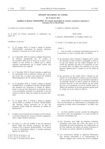 Décision 2011/18/PESC du Conseil du 14 janvier 2011 ... - EUR-Lex
