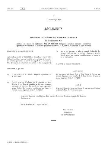 Règlement d'exécution (UE) no 949/2011 du Conseil du ... - EUR-Lex