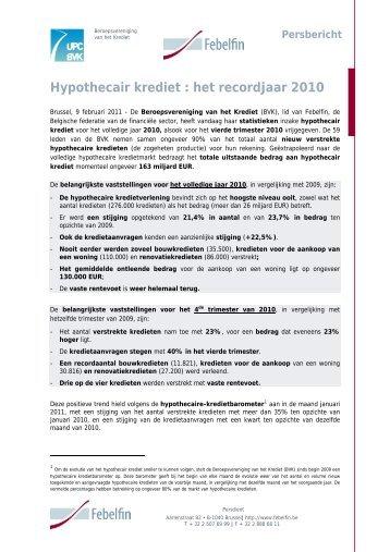 Hypothecair krediet : het recordjaar 2010 - Febelfin