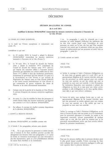 Décision 2011/221/PESC du Conseil du 6 avril 2011 ... - EUR-Lex