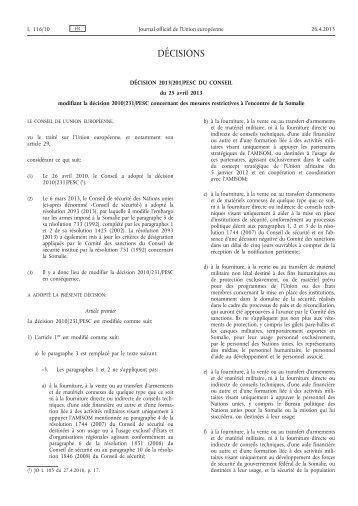 Décision 2013/201/PESC du Conseil du 25 avril 2013 ... - EUR-Lex