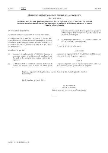 Règlement d'exécution (UE) no 309/2013 de la ... - EUR-Lex