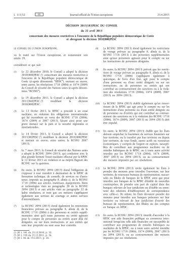 Décision 2013/183/PESC du Conseil du 22 avril 2013 ... - EUR-Lex
