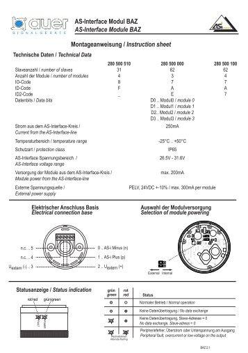 As-Interface Modul BAZ Montageanweisung / Instruction sheet AS ...