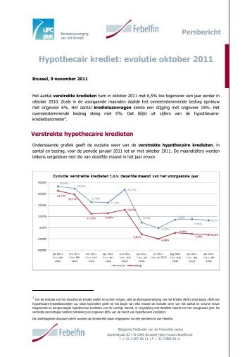 Kredietbarometer hypothecair krediet : oktober 2011 - Febelfin
