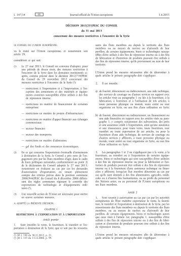 Décision 2013/255/PESC du Conseil du 31 mai 2013 ... - EUR-Lex