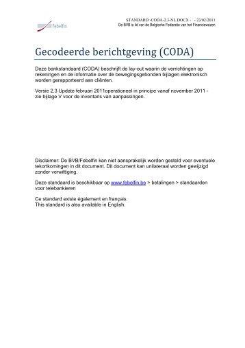 Gecodeerde berichtgeving (CODA) - Febelfin