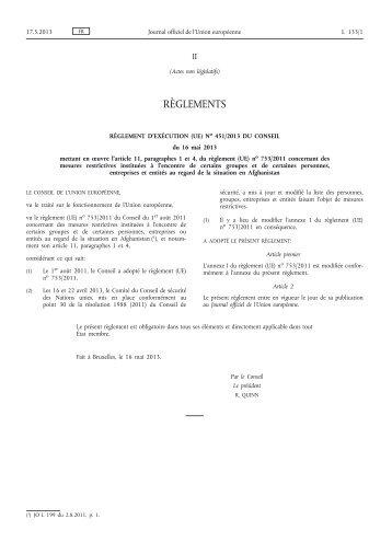 Règlement d'exécution (UE) no 451/2013 du Conseil du ... - EUR-Lex