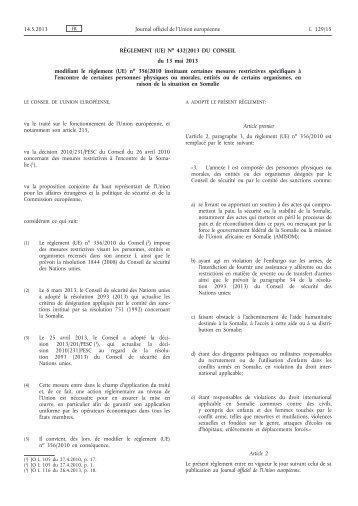 Règlement (UE) no 432/2013 du Conseil du 13 mai 2013 ... - EUR-Lex