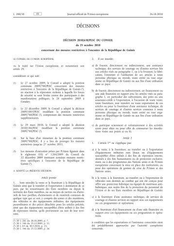 Décision 2010/638/PESC du Conseil du 25 octobre 2010 ... - EUR-Lex