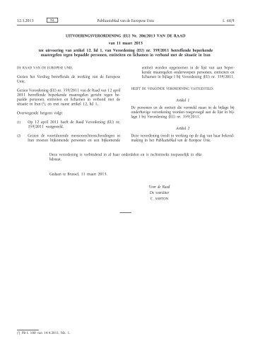 Uitvoeringsverordening (EU) nr. 206/2013 van de Raad ... - EUR-Lex
