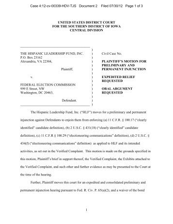 motion for preliminary and permanent injunction and a brief in ...