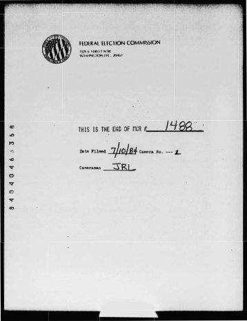 """Date Filmed i71t%0"""""""" Camera No. --- I. - Federal Election Commission"""
