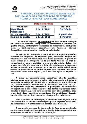 PROCESSO SELETIVO PRIMEIRO SEMESTRE ... - FEC - Unicamp