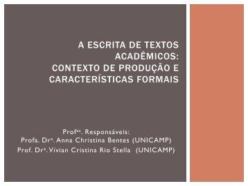 A ESCRITA DE TEXTOS ACADÊMICOS ... - FEC - Unicamp