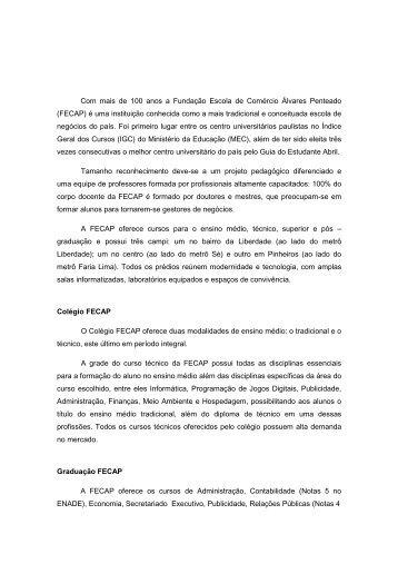 Release Institucional - Fecap