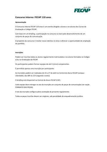 Briefing - Concurso Interno FECAP 110 Anos