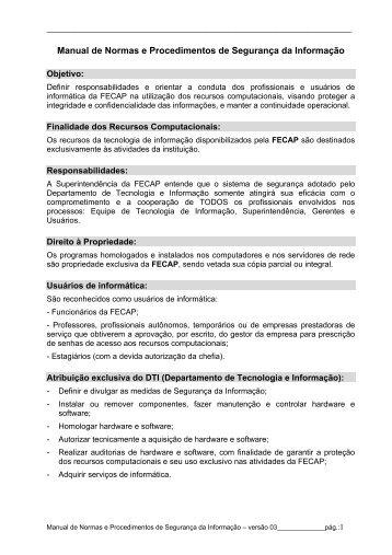 Manual de Normas e Procedimentos de Segurança da ... - Fecap