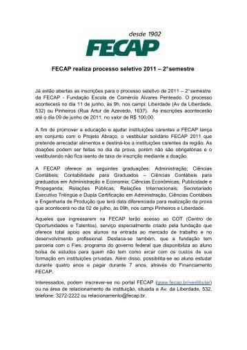 FECAP realiza processo seletivo 2011 – 2° semestre
