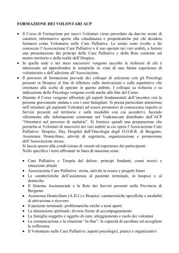 FORMAZIONE DEI VOLONTARI ACP • Il Corso di Formazione per ...