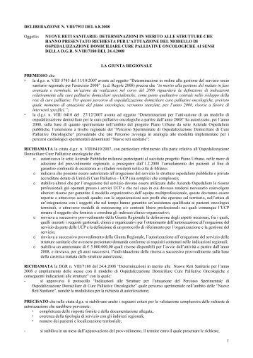 Deliberazione Giunta Regionale VIII 7933 del 06/08/2008