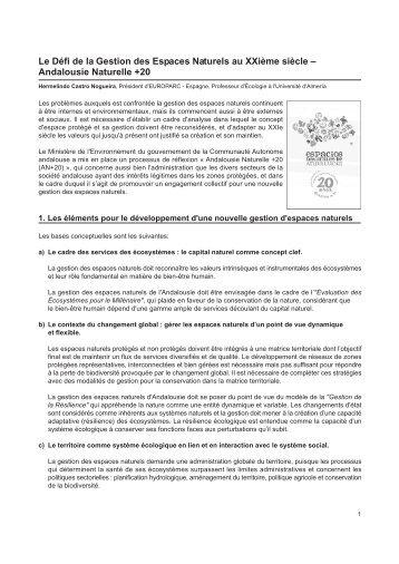 Le Défi de la Gestion des Espaces Naturels au ... - Fedenatur.org
