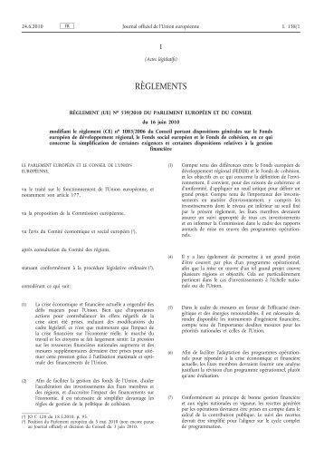 Règlement (UE) no 539/2010 du Parlement européen et ... - EUR-Lex