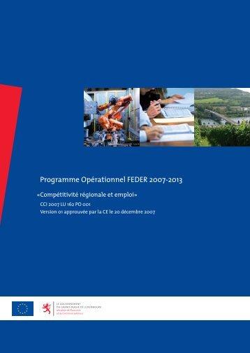 Programme Opérationnel FEDER 2007-2013