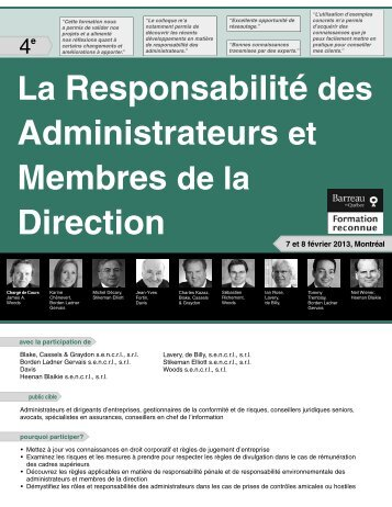 La Responsabilité des Administrateurs et ... - Federated Press