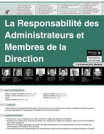 La Responsabilité des Administrateurs et ... - Federated Press