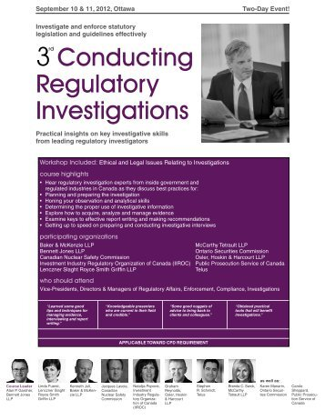 Conducting Regulatory Investigations - Federated Press