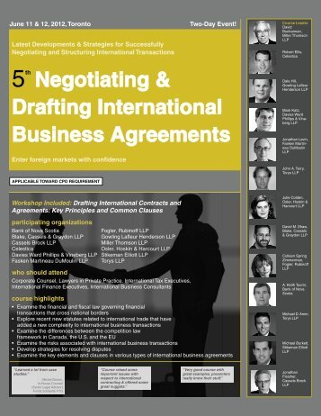 Negotiating & Drafting International Business ... - Federated Press