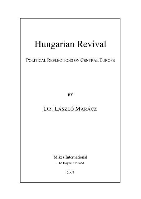 László Marácz: Hungarian Revival - Hollandiai Magyar Szövetség
