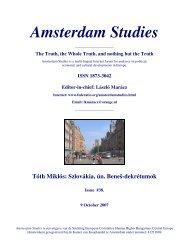 Amsterdam Studies - Hollandiai Magyar Szövetség