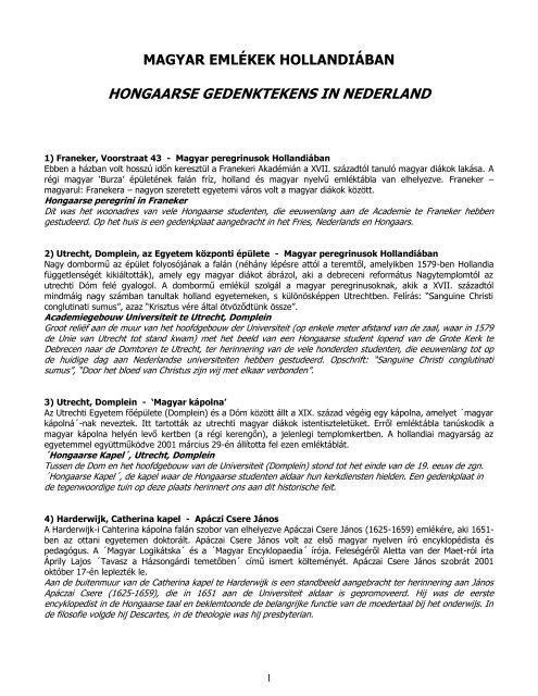 MAGYAR EMLÉKEK HOLLANDIÁBAN - Hollandiai Magyar Szövetség