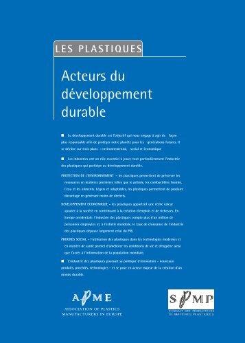 """""""Les plastiques: Acteurs du développement durable ... - Federplast.be"""