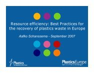 Resource efficiency: Best Practices for the recovery of plastics waste ...